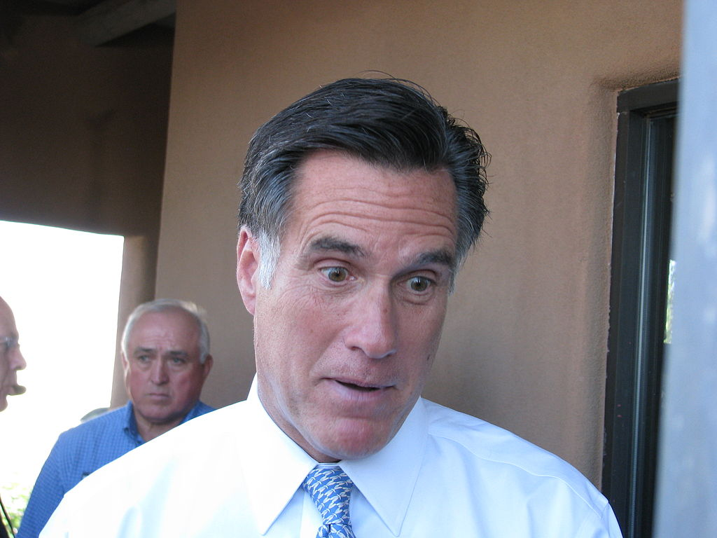 Mitt Romney show his suprise at being enshrined