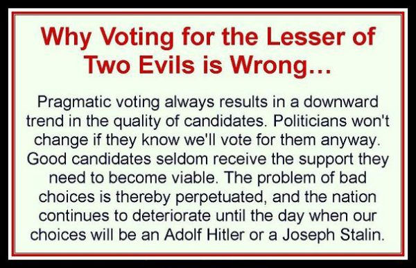 Voting for lesser of two evils